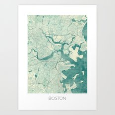 Boston Map Blue Vintage Art Print