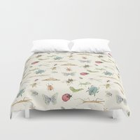insects Duvet Covers featuring Insects by Little Holly Berry