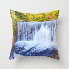 Monk's waterfall Throw Pillow