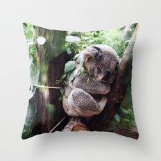Cute Koala relaxing in a Tree Throw Pillow