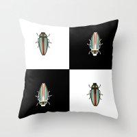 beetle Throw Pillows featuring Beetle  by Juliana Zimmermann