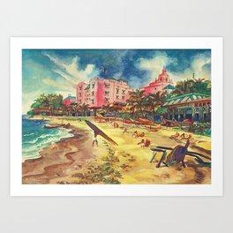Hawaii's Famous Waikiki Beach landscape painting Art Print