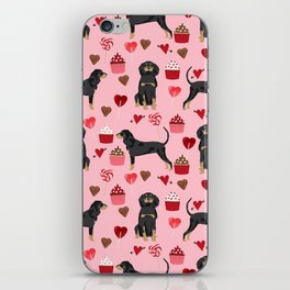 Coonhound love cupcakes hearts valentines day cute dog breed gifts for coonhounds iPhone Skin