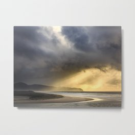Sunlight and Storms Over Cape Lookout, Oregon Metal Print