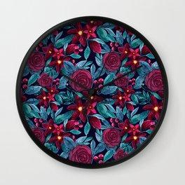 Elegant Navy Burgundy Christmas Floral Watercolor Wall Clock
