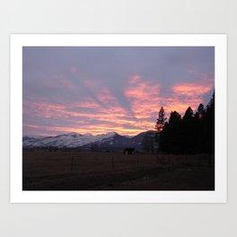 #406 sunset coming to calif sunday 1 26 14 Art Print