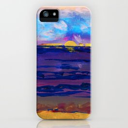 Large golden sunset, ocean, beach abstract iPhone Case