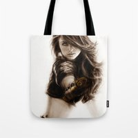 selena gomez Tote Bags featuring Selena-Q by Isaiah K. Stephens