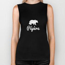 Pepere Bear White TShirt Funny gift For Pepere Biker Tank