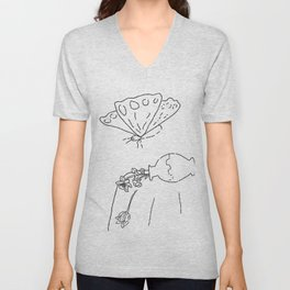 Too Big for the Flowers Summer Still Life with Vase and Butterfly Unisex V-Neck
