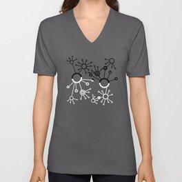 Black and White Blips Unisex V-Neck