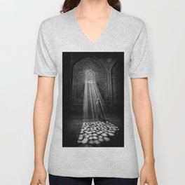 Rays of Sun through medieval blind window tracery black and white photograph / art photography Unisex V-Neck