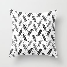 Feathers black and white triangle geometric modern trendy hipster boho southwest native style kids Throw Pillow