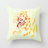 jaguar Throw Pillows featuring Jaguar by Icela perez bravo