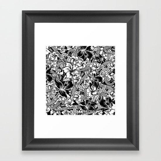 Snaky Fleur, Black 'n White Framed Art Print