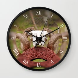Ram skull with horns lying Wall Clock