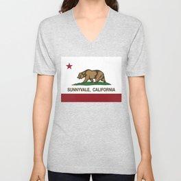 Sunnyvale California Republic Flag  Unisex V-Neck