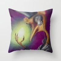 birdman Throw Pillows featuring Birdman by Britt Bolduc