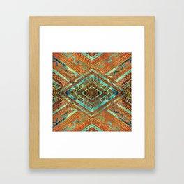 Tribal  Ethnic Boho Pattern burnt orange and gold Framed Art Print