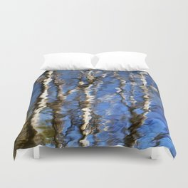 Abstract Aspen Tree Reflection Duvet Cover