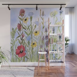 Wildflower Garden Watercolor Flower Illustration Wall Mural