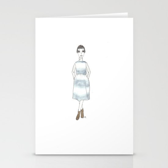 girl in a dress Stationery Cards