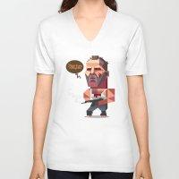 die hard V-neck T-shirts featuring John McClane - Die Hard by Robin Gundersen