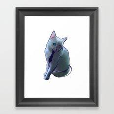 bowie cat Framed Art Print