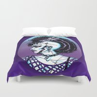 punk rock Duvet Covers featuring Punk Rock Girl by Eeriette