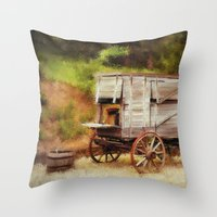 chuck Throw Pillows featuring Chuck Wagon by Mary Timman