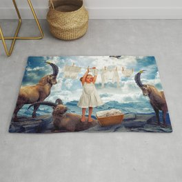 Little Girl Uses Capricorn As Clothesline Collage Ultra HD Rug