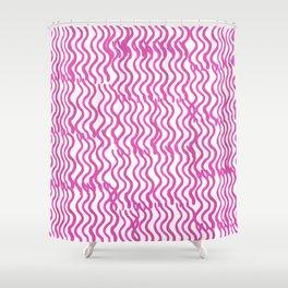 Pink Wavey Shower Curtain