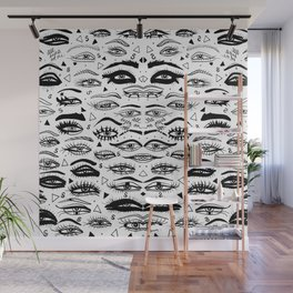 All Eyez on Me- Black and White Ink Drawing Wall Mural