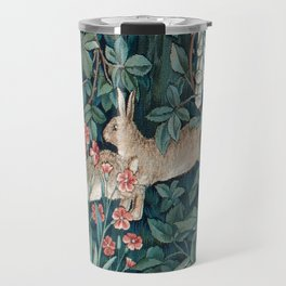 William Morris Forest Rabbits and Foxglove Greenery Travel Mug