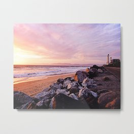 Vibrant Sunset over the Stacks at Huntington Beach, California Metal Print