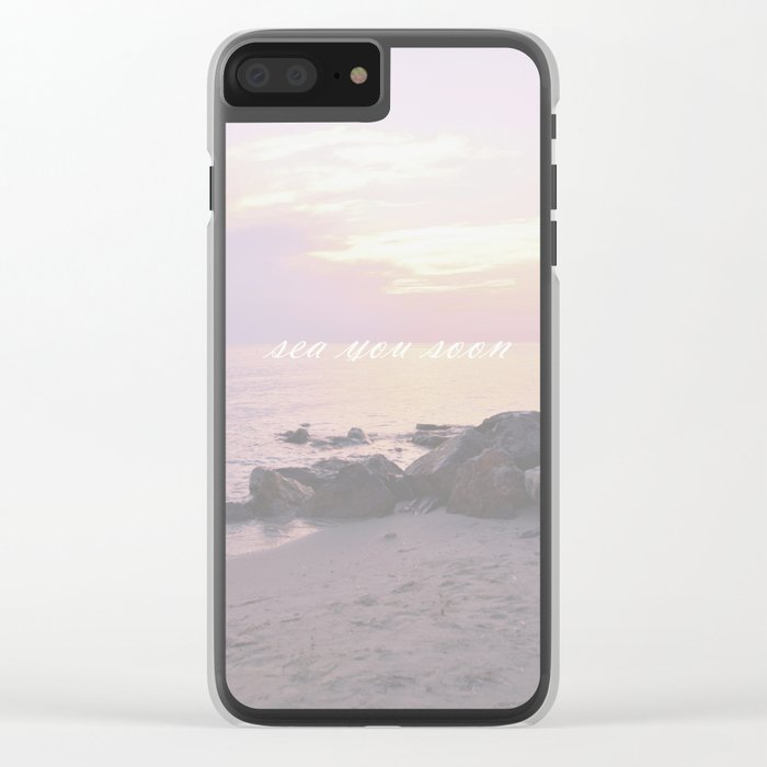 Sea You Soon Sunset Clear iPhone Case