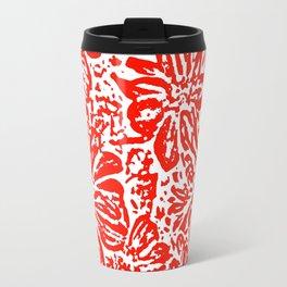 Marigold Lino Cut, Rad Red Travel Mug
