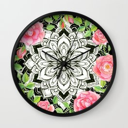 Peach Pink Roses and Mandalas on Black and White Lace Wall Clock
