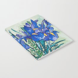 Iris Bouquet in Chinoiserie Vase on Blue and White Striped Tablecloth on Painterly Mint Green Notebook