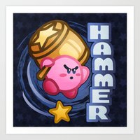 kirby Art Prints featuring Kirby Hammer by likelikes