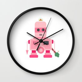 Giant pink robot with a tree club Wall Clock