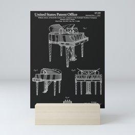Piano Patent - Black Mini Art Print