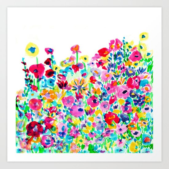 Flower Fields Pink Art Print