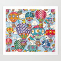 hot air balloon Art Prints featuring Hot Air Balloon by Helene Michau