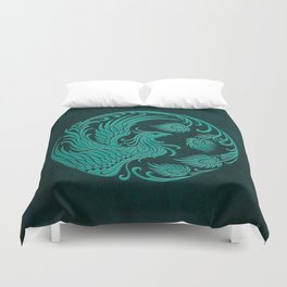 Traditional Teal Blue Chinese Phoenix Circle Duvet Cover
