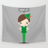 peter pan Wall Tapestries featuring Peter Pan by oyoyoi