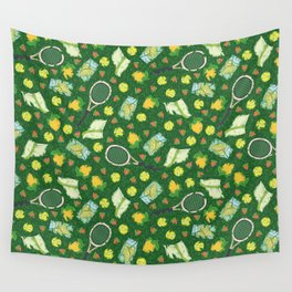 Yellow lemon and ball among tennis rackets and strawberries Wall Tapestry