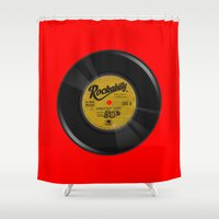 rockabilly Shower Curtains featuring Rockabilly Vinyl by Nano Barbero