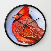 cardinal Wall Clocks featuring Cardinal by Priscilla George