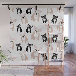 Cute French Bulldog Pattern Wall Mural